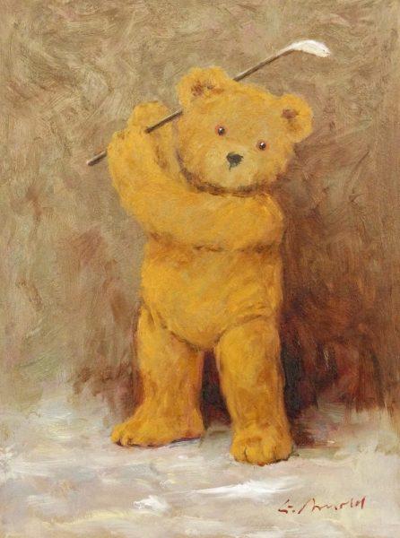 Teddy mit Golfschlaeger
