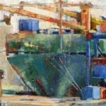 Gruener Containerfrachter,